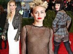 met ball 2013: miley cyrus, madonna and sienna miller get the dress code right with their punk chic